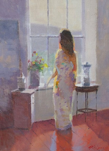 Zlatan Pilipovic Original Oil Painting Woman By The Window
